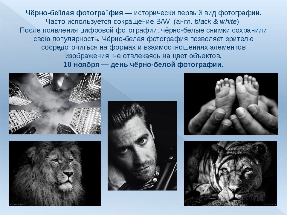 Чёрно-бе́лая фотогра́фия— исторически первый вид фотографии. Часто используе...