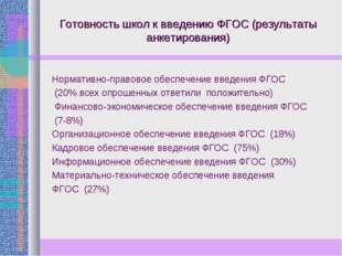Готовность школ к введению ФГОС (результаты анкетирования) Нормативно-правово