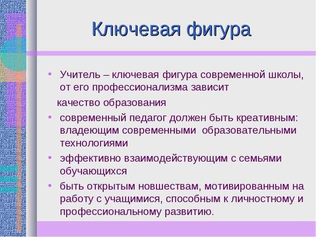 Ключевая фигура Учитель – ключевая фигура современной школы, от его профессио...