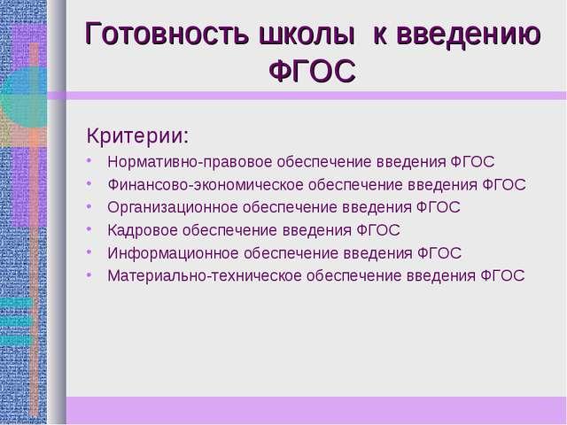 Готовность школы к введению ФГОС Критерии: Нормативно-правовое обеспечение вв...