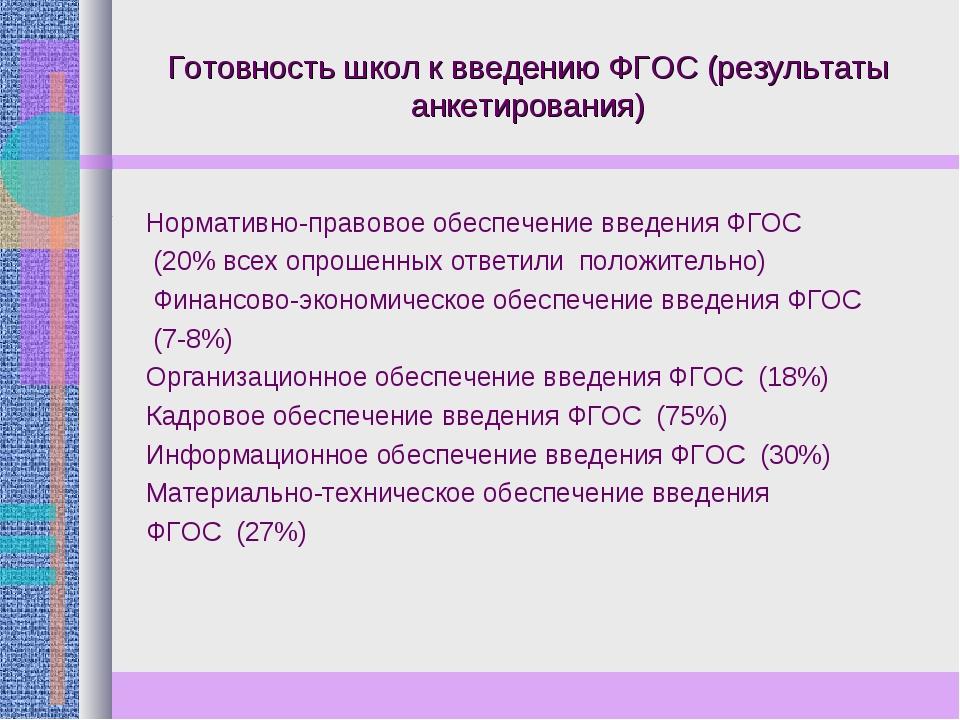 Готовность школ к введению ФГОС (результаты анкетирования) Нормативно-правово...