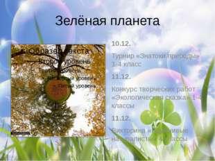 Зелёная планета 10.12. Турнир «Знатоки природы» 1-4 класс 11.12. Конкурс твор
