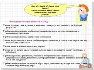 Результаты освоения личностных УУД: Ученик осознает смысл учения и понимает