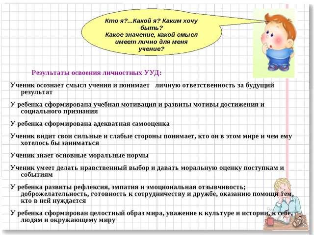 Результаты освоения личностных УУД: Ученик осознает смысл учения и понимает...