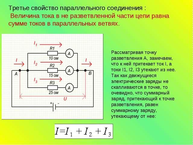 Третье свойствопараллельного соединения : Величина тока в не разветвленной...