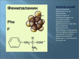ФЕНИЛАЛАНИН, ароматическая аминокислота. В организмах присутствует в свободно