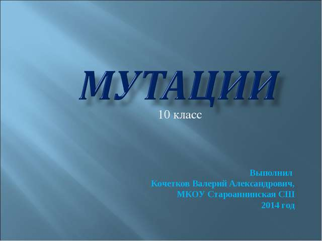 Выполнил Кочетков Валерий Александрович, МКОУ Староаннинская СШ 2014 год 10...