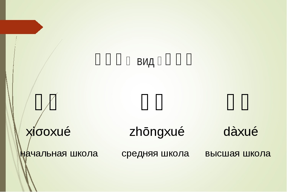 有三种(вид)学校。 小学 xiǎoxué начальная школа 中学 zhōngxué средняя школа...