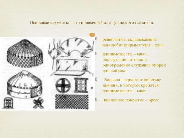 Основные элементы – это привычный для тувинского глаза вид. решетчатые, склад...