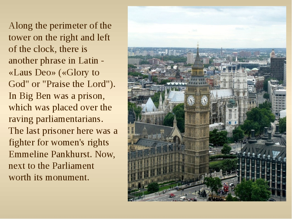 Along the perimeter of the tower on the right and left of the clock, there is...