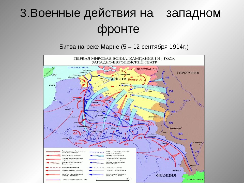 3.Военные действия на западном фронте Битва на реке Марне (5 – 12 сентября 1...