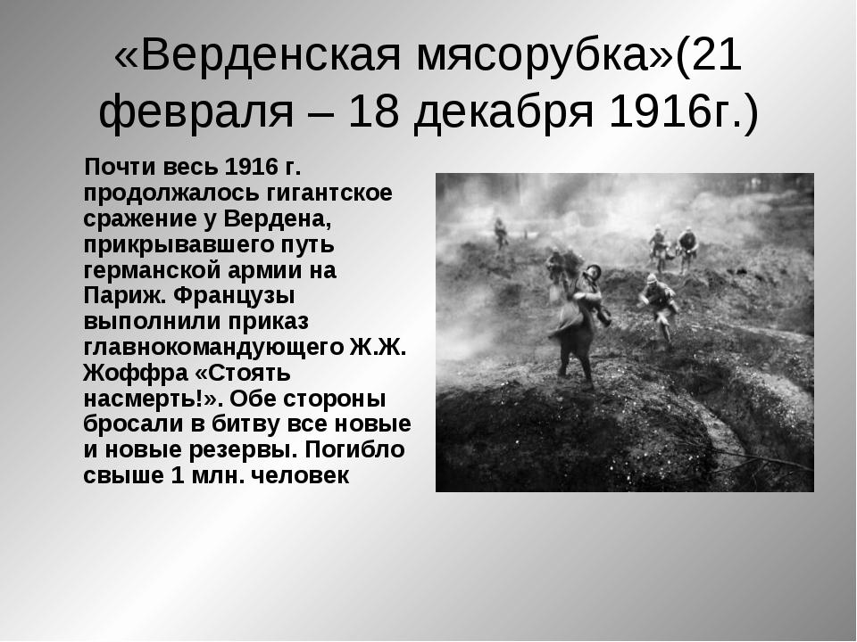 «Верденская мясорубка»(21 февраля – 18 декабря 1916г.) Почти весь 1916 г. про...