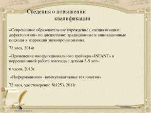 Сведения о повышении квалификации «Современное образовательное учреждение ( с