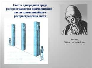 Евклид. 300 лет до нашей эры Свет в однородной среде распространяется прямоли