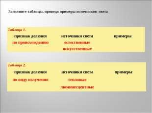 Заполните таблицы, приведя примеры источников света Таблица 1. признак делен