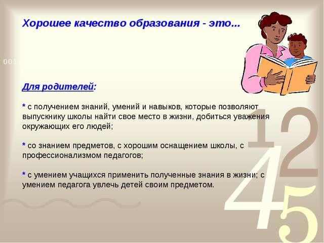 Хорошее качество образования - это... Для родителей: * с получением знаний, у...
