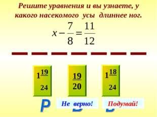 Решите уравнения и вы узнаете, у какого насекомого усы длиннее ног. 119 24 19
