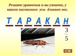 Решите уравнения и вы узнаете, у какого насекомого усы длиннее ног.