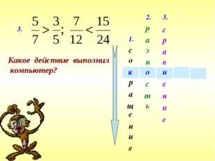 1. с е щ а и о н р е к 3. Какое действие выполнил компьютер? 2. о р а з н т с