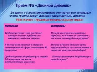 Приём №5 «Двойной дневник» Во время объяснения материала экспертом все осталь