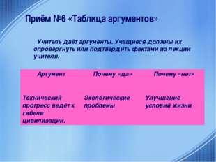 Приём №6 «Таблица аргументов» Учитель даёт аргументы. Учащиеся должны их опро