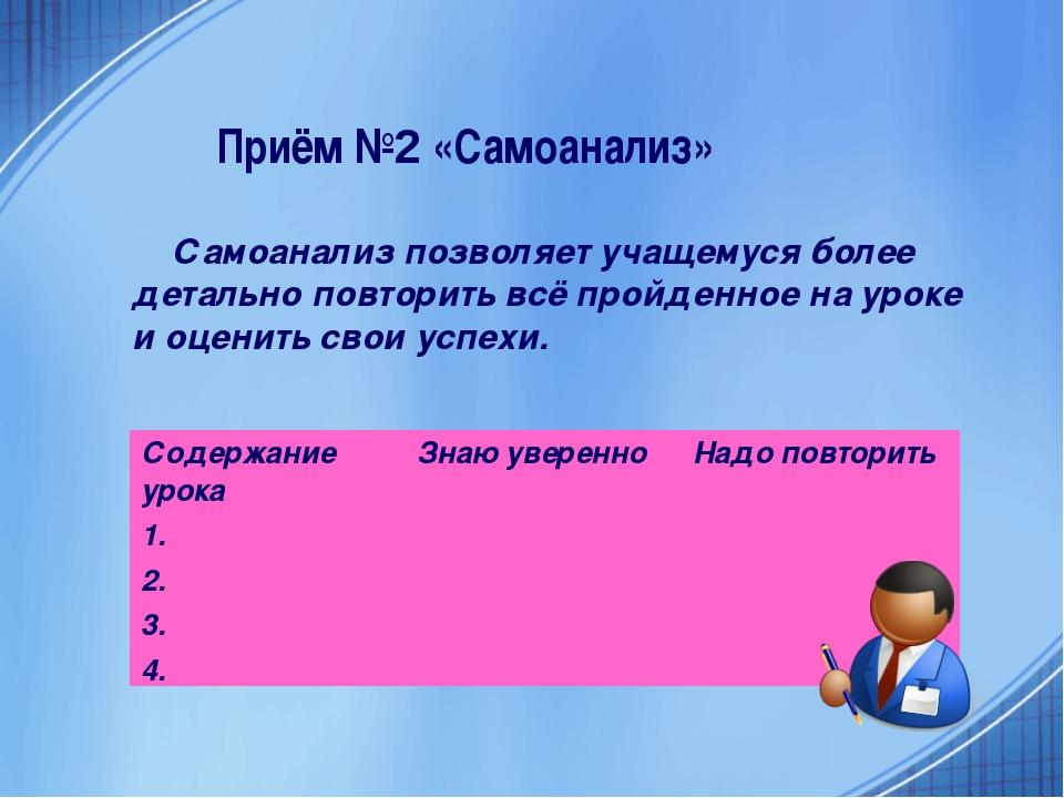 Приём №2 «Самоанализ» Самоанализ позволяет учащемуся более детально повторить...