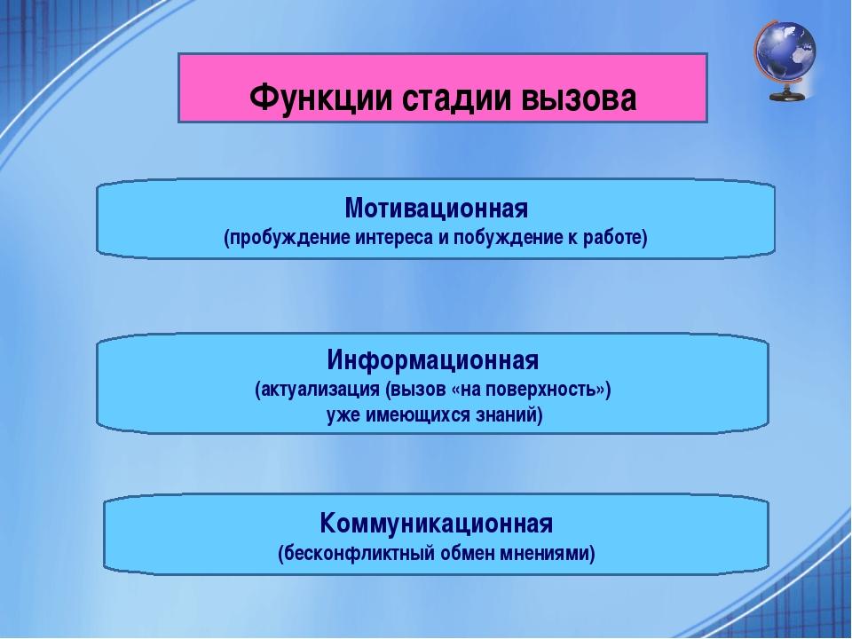 Функции стадии вызова Мотивационная (пробуждение интереса и побуждение к рабо...