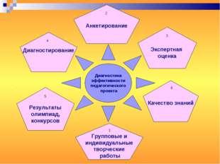 Диагностика эффективности педагогического проекта Групповые и индивидуальные