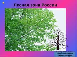 Лесная зона России К уроку «Лесные зоны России» подготовила учитель географии