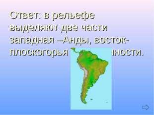 Ответ: в рельефе выделяют две части западная –Анды, восток-плоскогорья и низ