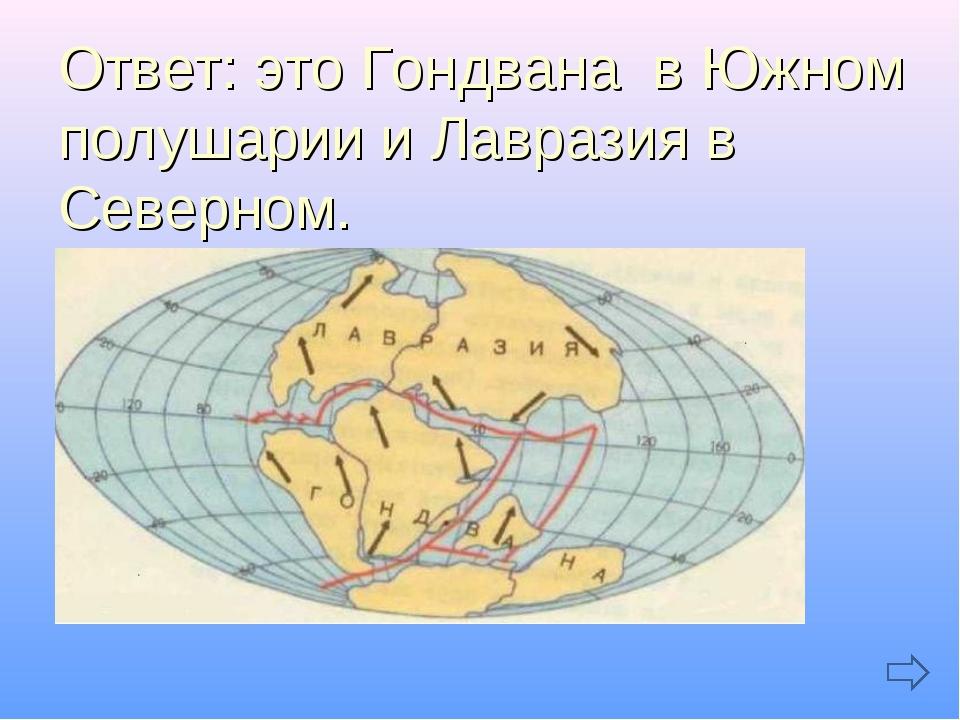 Ответ: это Гондвана в Южном полушарии и Лавразия в Северном.