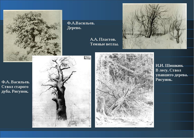 Ф.А. Васильев. Ствол старого дуба. Рисунок. И.И. Шишкин. В лесу. Ствол упавше...