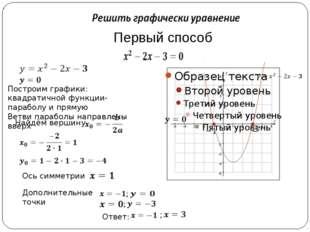 Первый способ Построим графики: квадратичной функции-параболу и прямую Ветви