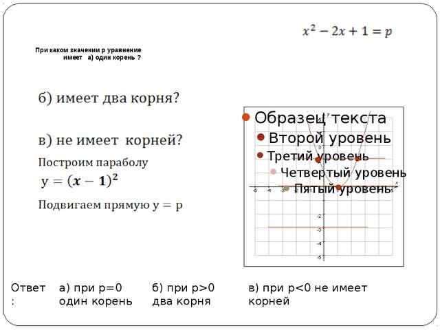 При каком значении р уравнение имеет а) один корень ? в) при р0 два корня а)...