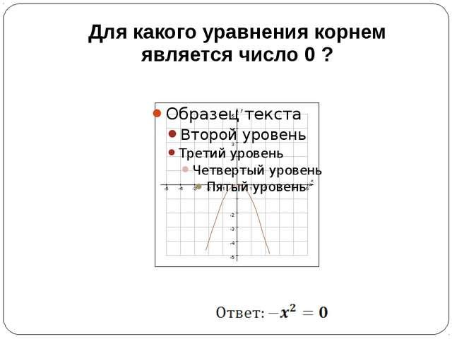 Для какого уравнения корнем является число 0 ?