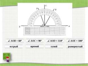  AOB = 60°  AOC = 90°  AOD = 110°  AOE = 180° острый прямой тупой разверн