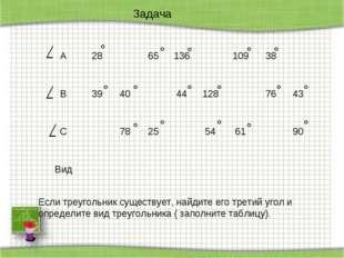 Задача Если треугольник существует, найдите его третий угол и определите вид
