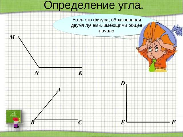 Определение угла. Угол- это фигура, образованная двумя лучами, имеющими общее...
