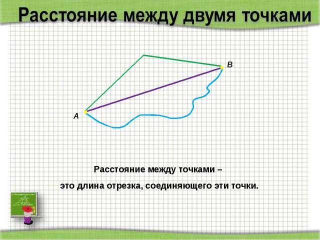 Расстояние между точками – это длина отрезка, соединяющего эти точки. А В