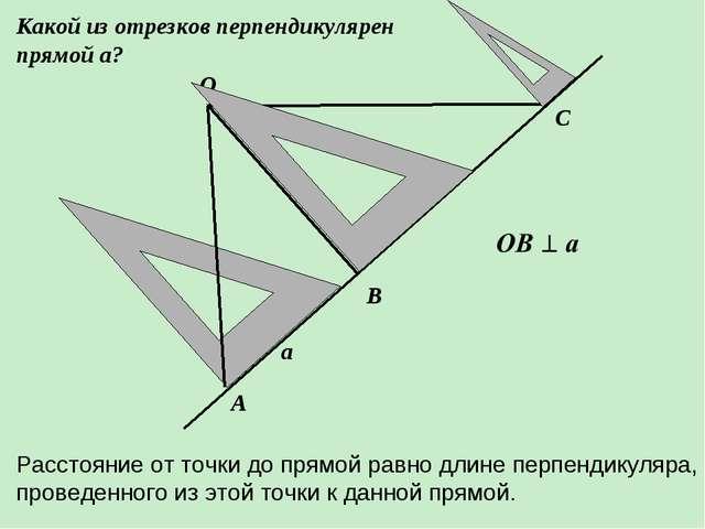 О В А С а Какой из отрезков перпендикулярен прямой а? Расстояние от точки до...