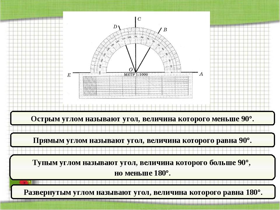 Прямым углом называют угол, величина которого равна 90°. Тупым углом называют...