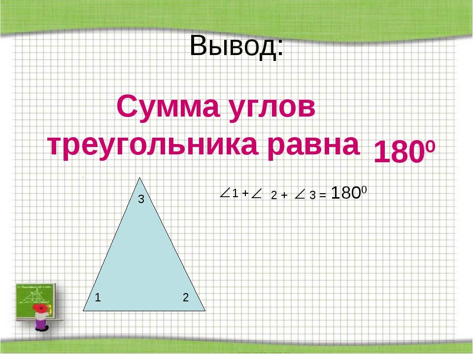Вывод: Сумма углов треугольника равна 1 2 3 1 + 2 + 3 = 1800 1800
