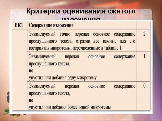 Критерии оценивания сжатого изложения