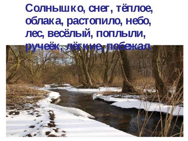 Солнышко, снег, тёплое, облака, растопило, небо, лес, весёлый, поплыли, руче...