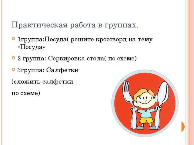Практическая работа в группах. 1группа:Посуда( решите кроссворд на тему «Посу...