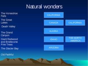 Natural wonders CALIFORNIA CANADA ALASKA IDAHO ARIZONA THE NORTH AMERICA CALI