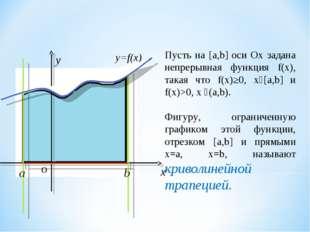y=f(x) Пусть на [a,b] оси Ox задана непрерывная функция f(x), такая что f(x)≥