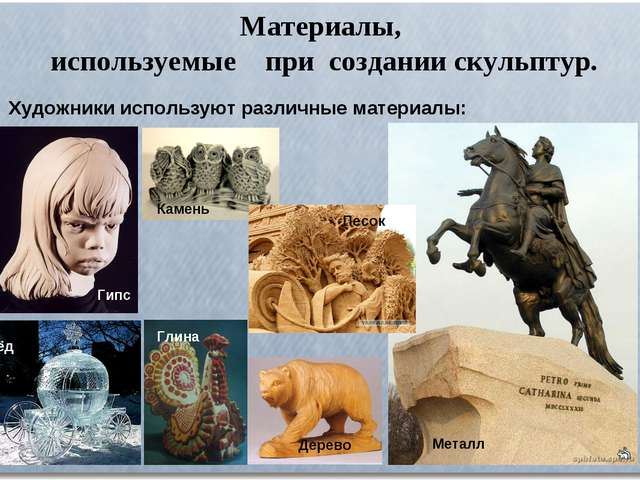Материалы, используемые при создании скульптур. Художники используют различны...