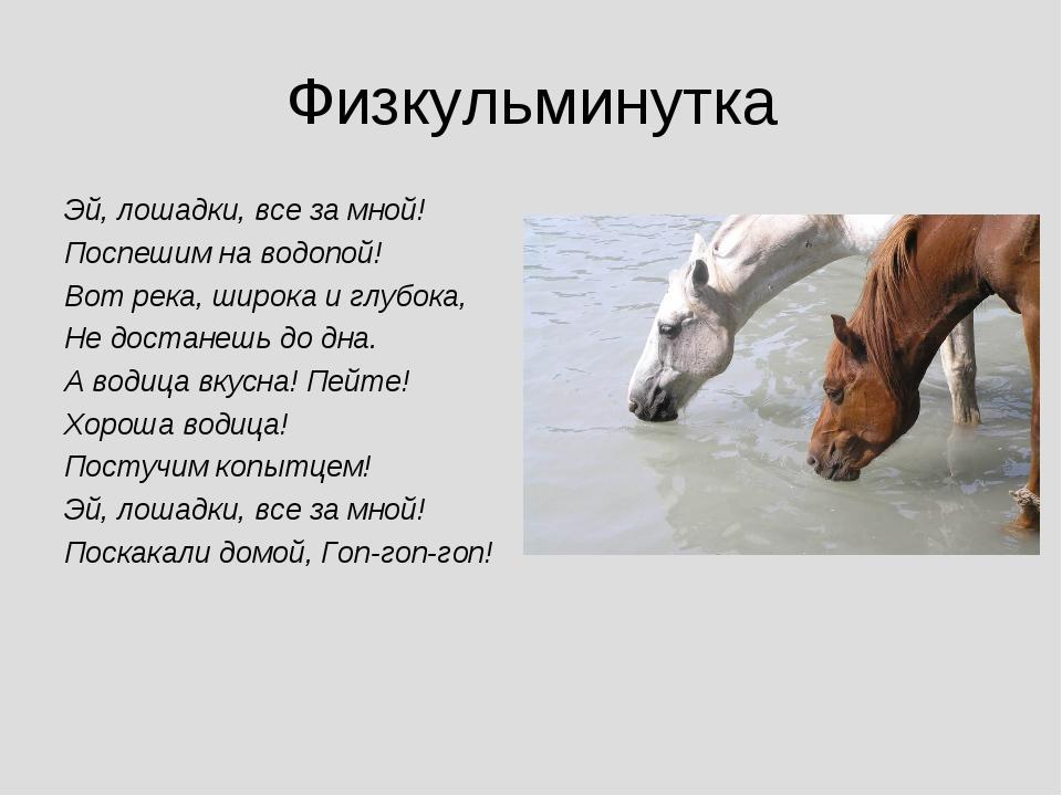 Физкульминутка Эй, лошадки, все за мной! Поспешим на водопой! Вот река, широк...