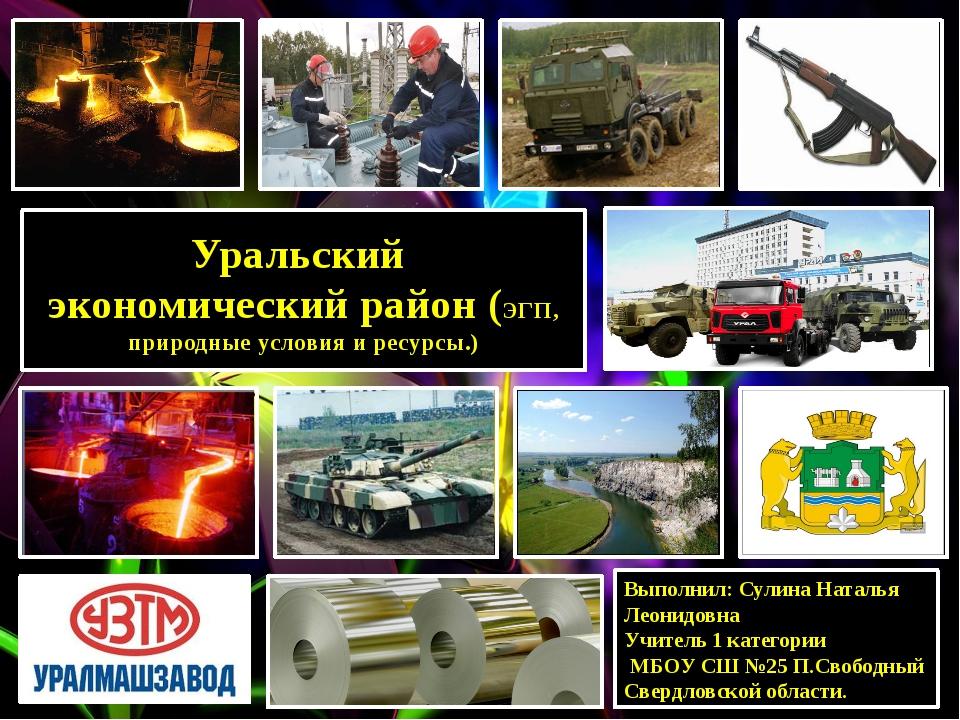 Уральский экономический район (ЭГП, природные условия и ресурсы.) Выполнил: С...